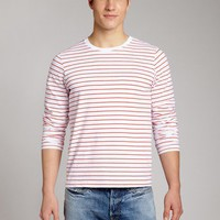 Bonobos Men&#x27;s Clothing | Vintage Wash Tee - Long Sleeve - Red &amp; White Stripe