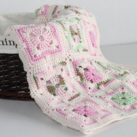 Granny Square Afghan - Baby Girl Blanket - Pinks and Green