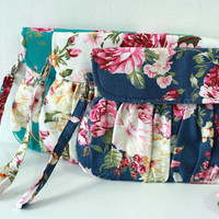 Set of 3 - Bridesmaid gift wedding clutch - rose floral clutch purse