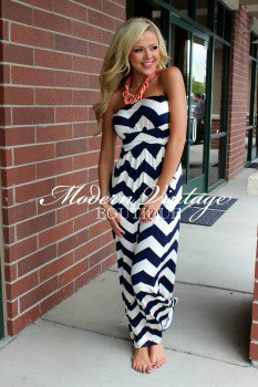 Maxi Dress on Top Notch Navy Chevron Tube Top Maxi Dress On Wanelo