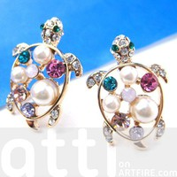 Cute Turtle Tortoise Sea Animal Pearls and Rhinestones Stud Earrings