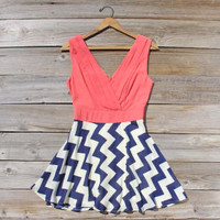 Firecracker Chevron Dress in Watermelon, Sweet Women&#x27;s Bohemian Clothing