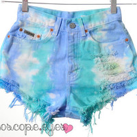 Vintage Calvin Klein TIE DYE Dyed Denim High Waist Cut Off Shorts XS