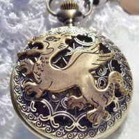 Bronze dragon pocket watch, men&#x27;s mechanical pocket watch