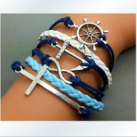 The Ancient Silver Anchor Rudder Cross Romantic Password Hand-Knitted Leather Cord 6-Layer Bracelet SL010