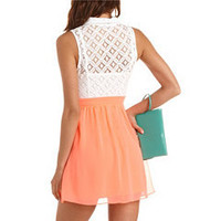 Lace Top Neon Shirt Dress: Charlotte Russe