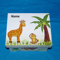 Hand Painted Baby Boy's Keepsake BOX Decorative Wood Personalized Memory Box Baby Jungle