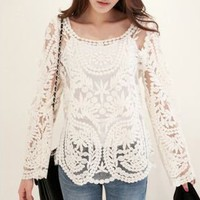 Embroidery Floral Lace Crochet Blouse