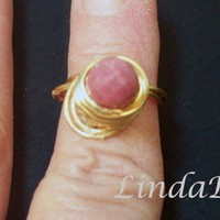 Gold Rhodonite Wire Wrapped Ring Size 5