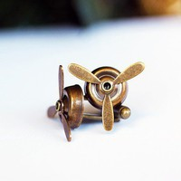Airplane PROPELLER Cuff Links-Aviator,Antique Brass ,Silver,Gunmetal,wedding,groom gift,brothers,fathers day | Pinkymonkey - Accessories on ArtFire