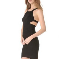 Starry Open-Back Scoop-Neck Bandage Dress