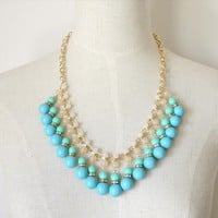 Fashion Blue Beaded Bib Necklace