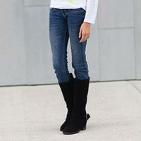 Black Back Zipper Buckle Boots