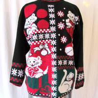 Vintage 80's Christmas Sweater / 80's Sweater / 80's Kitten Sweater / Ugly Christmas Sweater / Sweatshirt