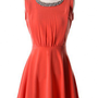 Sequins Collar Skater Dress in Red