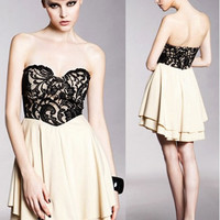 * Free Shipping * Beige Sweetheart Lace Spliced Dress M/L A1593be