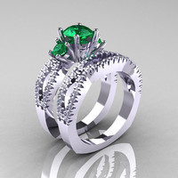 Modern French 14K White Gold Three Stone Emerald Diamond Engagement Ring Wedding Band Set R140S-14KWGDEM