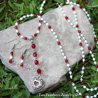 Heart Necklace - Red And White - Red Crystal - White Shell - Gift For Her - Beaded Necklace - Beaded Earrings - Czech Glass Jewelry