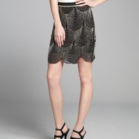 Joieblack and silver silk chiffon beaded scallop trim