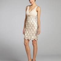 Sue Wongantique champagne crepe beaded sequin petal hem dress | BLUEFLY up to 70 off designer brands