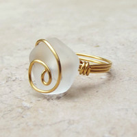 White Sea Glass Ring:  24K Gold Plated Wire Wrapped Opaque Crystal Beach Wedding Jewelry, Size 7