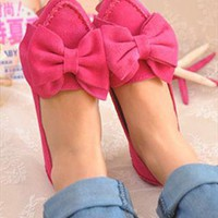 Sweet Suede Shoes with Bow in Pink from ABIGALE