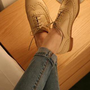 Retro Beige Hollow Shoes from ABIGALE