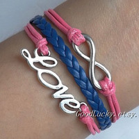 jewelry  Custom leather bracelet, love bracelet,infinity bracelet,letter incentive Bracelet-pink wax rope&navy blue leather braided bracelet