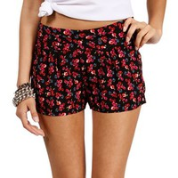 Black/Red Floral Shorts