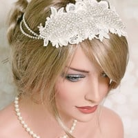 Rhinestone Bridal Headband, Bridal Hair accessory, Great Gatsby Wedding, 1920s, Vintage Inspired, Rhinestone, Lace Headband