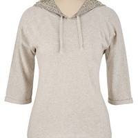 Lace Back Hooded Pull Over