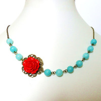 Red Rose Necklace, Rockabilly Flower Necklace, with Aqua Blue Jade and Antique Bronze - Pin Up Burlesque Glamour