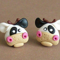 Cows earrings polymer clay fimo handmade