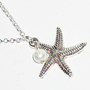 Starfish antique silver bracelet white pearl wire wrapped charm trendy cyber casual friendship boho metal summer bracelet