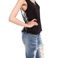 Lace Back Pocket Tank
