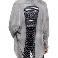 Slashed Back Cardigan in Ash