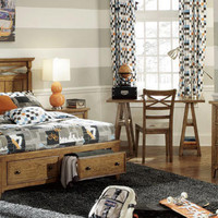 Buchanan Oak Full Size Storage Bed