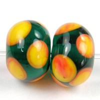 Dark Teal Lampwork Beads Apricot Dots Glossy Transparent Beads - $3.00 : Covergirlbeads, Lampwork Beads and Charms Handmade by Glass Artist Charlotte Hayes