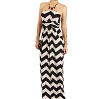 Black/White Strapless Chevron Maxi Dress