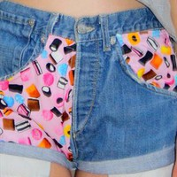 Liquourice Allsort Denim Levi High Waisted Shorts from Little-Miss-Charming