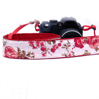 dSLR Camera Strap with roses. Floral Camera Strap. Summer Camera Strap. Women accessories