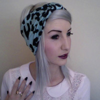 mint teal aqua and black LEOPARD print stretchy knit jersey turban headband