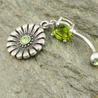 Belly Button Ring Peridot Green Aztec Medallion by MidnightsMojo