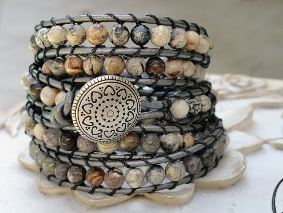 Beaded Leather wrap bracelet 5X wrap metallic by WrappedInLeather