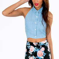 Tied Back Denim Halter Top $21