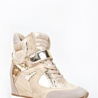 Nature Breeze SWIFT Metallic Lace Up Wedge Sneaker | Shop Shoes