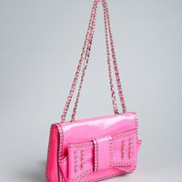 Rebecca Minkoff hot pink patent leather studded bow