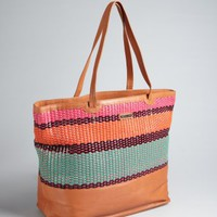 Rebecca Minkoff brown woven stripe leather