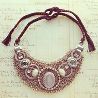 Pree Brulee - Handmade Prague Crystal &amp; Crochet Necklace