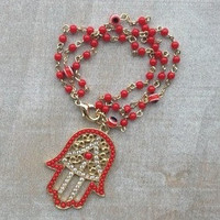 Pree Brulee - Red Beaded Hamsa Bracelet